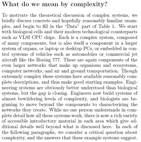 What do we mean by complexity