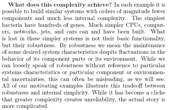 What does complexity acheive